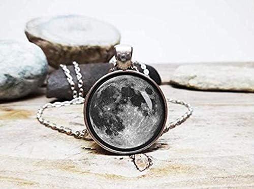 Collier Les Amateurs de Lune Lune Cadeau Lune Bleue Pendentif Planet Necklac Loup-Garou Leonid Meteor Douche Pleine Lune Collier