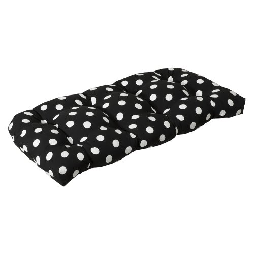 Pillow Perfect Indoor/Outdoor Black/White Polka Dot Wicker L
