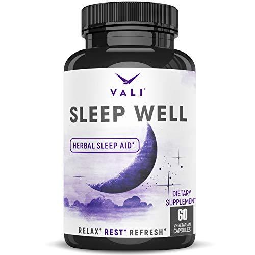 Sleep Well Natural Sleep Aid Supplement - Vegan Non Habit Forming Herbal Sleeping Pills to Calm, Relax Fast, Support Rest & Wake Refreshed. Melatonin, Valerian, Chamomile & More - 60 Veggie Capsules