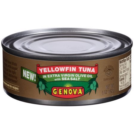 Genova Yellowfin Tuna in Extra Virgin Olive Oil with Sea Salt 5 oz Can (Tuna Genova)