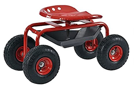 Muscle Carts RGS331722 RED Rolling Seated Garden Stool, 15.8u0026quot; Height,  18.5u0026quot;