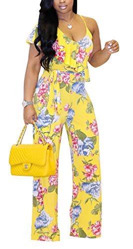 Aro Lora Women's Sexy Sleeveless Floral Print Ruffle One Piece Wide Leg Jumpsuits Rompers Small Yellow