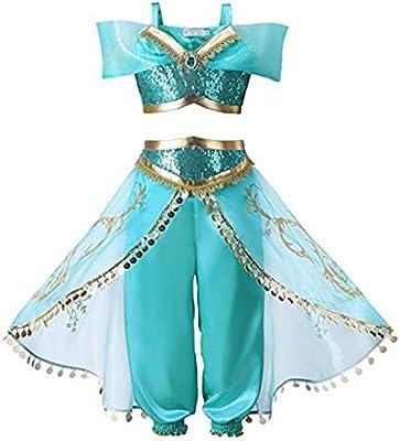 QSEFT® Conjunto de Vestido de jazmín de Aladdin para niñas ...