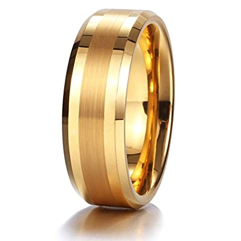 King Will GOLD 8mm Gold Tungsten Carbide Ring Brushed Center Mens Wedding Band Comfort Fit(13) - Heavy Mens Wedding Band