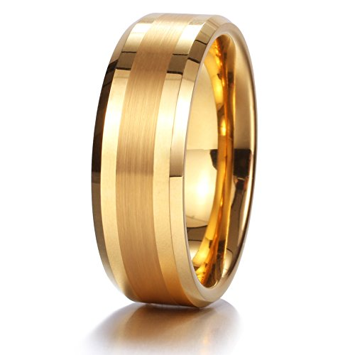 King Will GOLD 8mm Gold Tungsten Carbide Ring Brushed Center Mens Wedding Band Comfort Fit