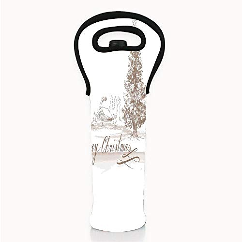 Romantic New Year Champagne - Neoprene Wine/Water Bottle tote bags, Christmas Decorations,Romantic Vintage New Year Scene with Reindeer Tree Star Holy Design Image,Brown,Fit for Champagne,Wine,Beer Bottles,Drinks