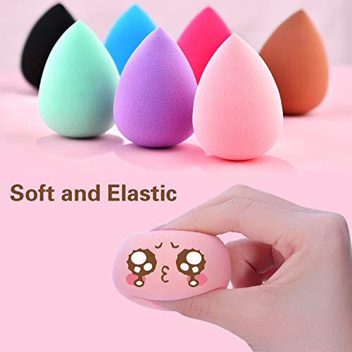 7pcs Makeup Sponge Blender Set in Different Colors, Latex-free Blender Beauty Foundation Blending Sponge, Water drop/Teardrop Makeup Sponges Pack (7, different colors)