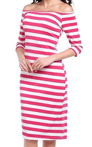 Mid Sleeve Elegant Shoulder Dress Length Striped Red Coolred Rose Half Women Off wTHqfnx0F