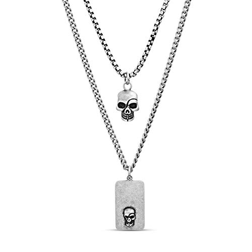 Steve Madden Men's Oxidized Skull Head and Dogtag Pendant Double Strand Chain Necklace Set in Stainless Steel, Silver, 28
