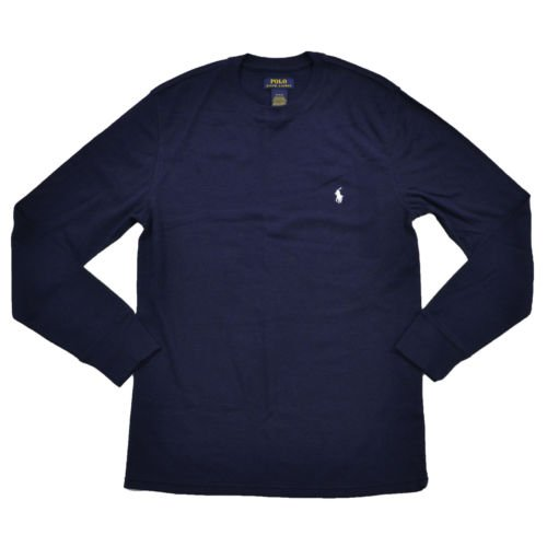 (Polo Ralph Lauren Mens Folded Waffle Mixed Media Long Sleeve Crew (Navy, Large))