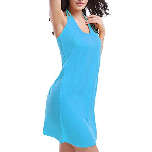 Zhhlinyuan Retro Halterneck Beachwear Swimsuit Ladies Soft Bikini Dress Swimwear VB002 Lake Blue