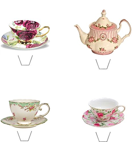 Vintage Time For Tea Collection (2) 12 Edible Stand up wafer paper cake toppers - UNCUT (5 - 10 BUSINESS DAYS DELIVERY FROM UK)