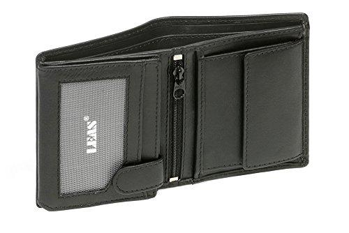 Mini-Kombibörse mit Riegel im Hochformat LEAS in Echt-Leder, schwarz - ''LEAS Mini-Edition''