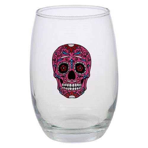 SET OF 2 Day of the Dead Stemless Pink Skull Flower Wine Glasses, 15 1/2 oz glass Halloween Gasparilla -