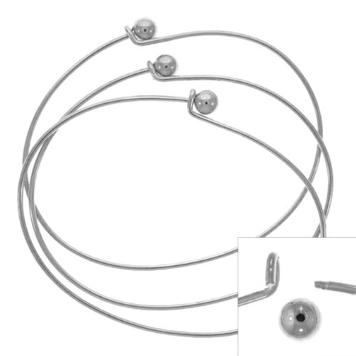 Beadaholique Silver Plated Wire Beading Bracelet with Ball, 3-Pack ()