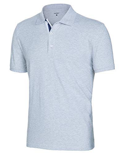 Innersy Men's Classic Fit Stretch All Cotton Solid Pique Polo Shirts (L, Light (Solid Stretch Pique Polo)