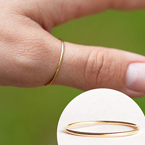 (Handmade Gold Fill Size 8 Smooth Finish Single Stackable Ring)
