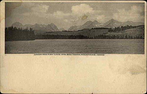 Lower Saw - Lower REd Fish Lake and Saw Tooth Mountains Idaho Original Vintage Postcard