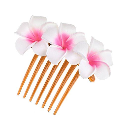 DreamLily Hawaiian Plumeria Flower Foam Comb Beach Wedding Flower Headpiece JZ09 (White (Foam Headpiece)