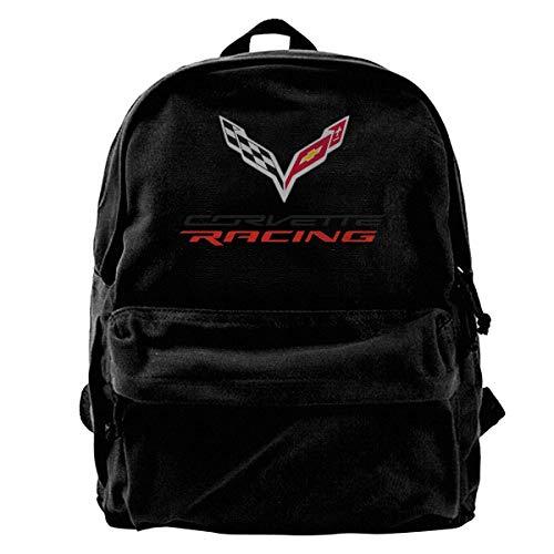 Canvas Backpack Corvette Apparel Racing Logo Rucksack Gym Hiking Laptop Shoulder Bag Daypack For Men Women