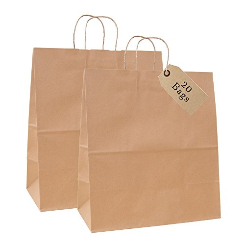 "Incredible Packaging - 18"" x 7"" x 18"" Jumbo Kraft Paper Bags with Handles for Shopping, Retail and Merchandise. Strong and Reusable - 80 Paper Thickness- 100% Recycled (20, Brown)"