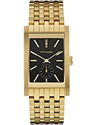 Wittnauer Wn3058 Mens Strainless Steel Gold Bracelet Band Black Dial Square Watch