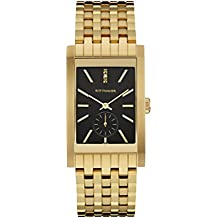 Wittnauer Wn3058 Men's Strainless Steel Gold Bracelet Band Black Dial Square Watch