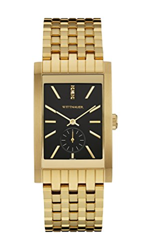 Wittnauer Wn3058 Men's Strainless Steel Gold Bracelet Band Black Dial Square Watch (Watch Wittnauer Wrist Gold)