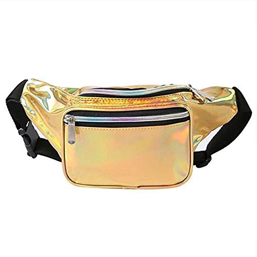 Holographic Fanny Pack for Women & Men – Neon Rave Waist Fanny Pack with Adjustable Belt for Festival, Travel, Party -