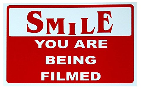 1-Pc Outstanding Popular Smile You Are Being Filmed Sign CCTV Security Business Property 24Hr Watched Size 7