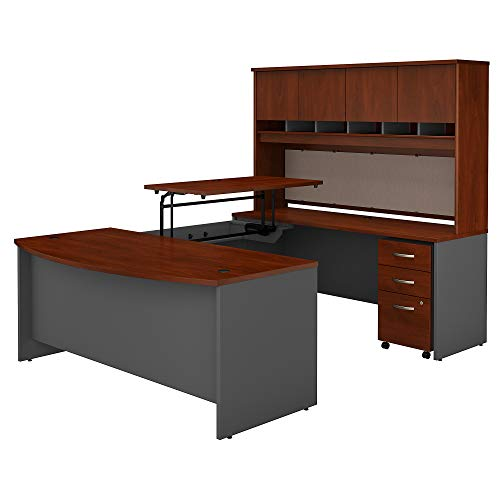 Bush Business Furniture Series C 72W x 36D 3 Position Sit to Stand Bow Front U Shaped Desk with Hutch and Mobile File Cabinet in Hansen Cherry/Graphite Gray (Series U-shape Computer)