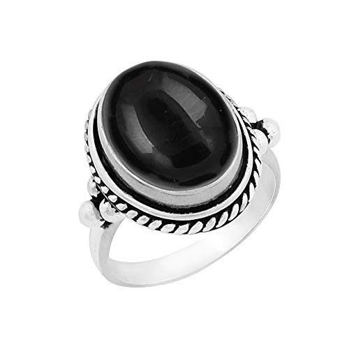 (Genuine Large Oval Shape Black Onyx Solitaire Ring 925 Silver Plated Vintage Style Handmade for Women Girls (Size-6.5) )