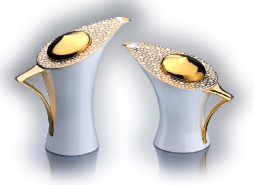 ラグジュアリーティー&コーヒーポットセット マーディンガーデザイン ファインボーンチャイナ磁器 18Kリアルゴールドメッキ 手描きアラベスクパターンの装飾 マーディンガーティーとコーヒーポットセット 最高のアーティスティックバリー