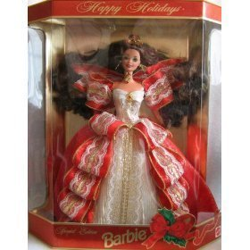 1997 Happy Holidays Brunette Barbie Doll NRFB by Barbie