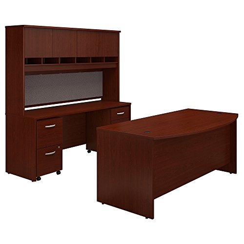 Bush Business Furniture Series C Bow Front Desk with Credenza, Hutch and Storage in Mahogany (Bush Mahogany Credenza)