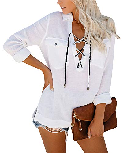 (EasySmile Womens Long Sleeve Blouses Casual Work Tunic Top Lace Up V Neck Fashion Shirts with Brooch Gift White)