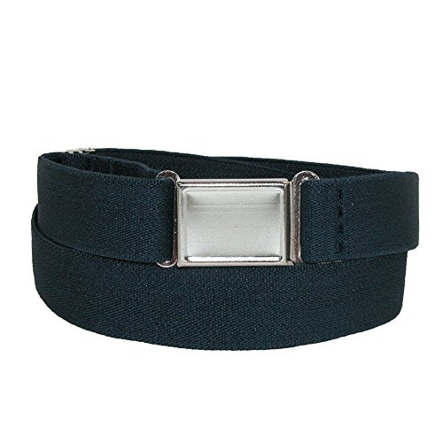 CTM Plus Size Elastic Belt with Magnetic Buckle, Navy