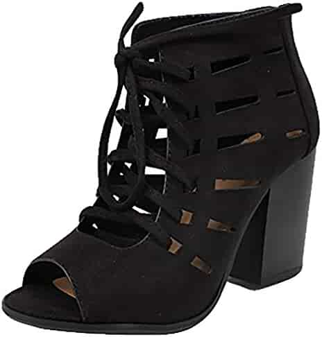 310cb7f401f8 Soda Women s Quince Faux Leather Peep Toe Lace Up Gladiator Slingback Open  Back Ankle Boot