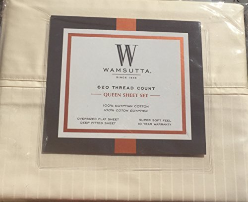 Wamsutta Queen Sheet Set Ivory Stripe 620 Thread Count Egyptian Cotton (Sheets Wamsutta Cotton Egyptian)