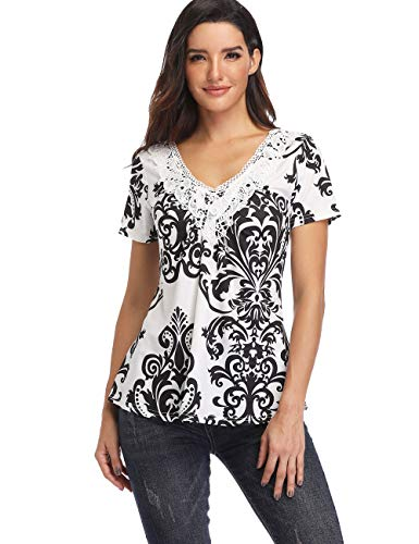 (Women's Deep V-Neck Ruched Front Short Sleeve Ruffle Casual Tops Tunic Blouse Shirt (Small/US-6, White))