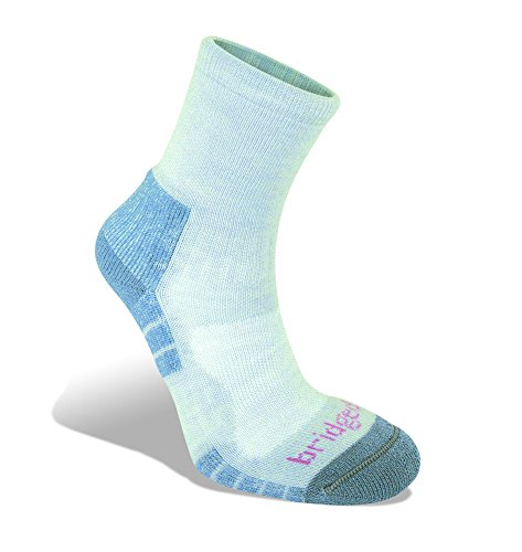 Bridgedale Womens Trail Light Wool Fusion Socks, Medium, Grey Smokey Blue with Sock Ring ()
