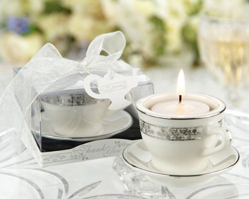 Teacups and Tealights Miniature Porcelain Tealight Holders - Baby Shower Gifts & Wedding Favors (Set of 48) by Cutie Beauty