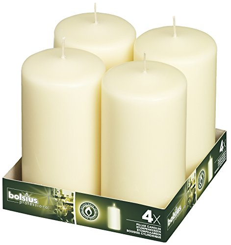 Bolsius 3x6 Set Of 4 Ivory Pillar Candles aprox 3x6 inces