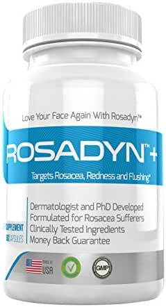 Rosacea Treatment Supplement by Rosadyn | Relief for Face & Nose Redness, Acne and Red Eyes | Works Internally Unlike a Cleanser Wash, Moisturizer, Cream or Other Skin Care Products| Natural