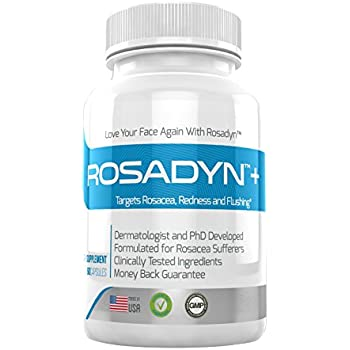 Rosacea Treatment Supplement by Rosadyn   Relief for Face & Nose Redness, Acne and Red Eyes   Works Internally Unlike a Cleanser Wash, Moisturizer, Cream or Other Skin Care Products  Natural