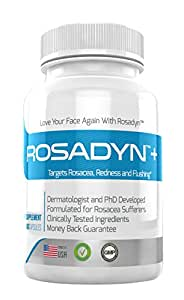 Rosacea Treatment Supplement by Rosadyn | Relief for Face & Nose Redness, Acne and Red Eyes | Works Internally Unlike a Cleanser Wash, Moisturizer, Cream or Other Skin Care Products| Natural | 60 Caps