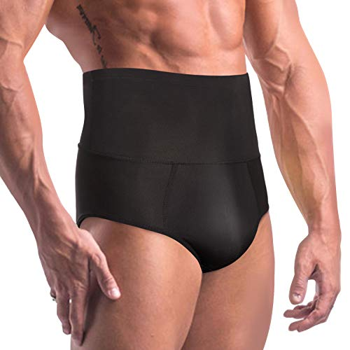 TAILONG Men Tummy Shaper Briefs High Waist Body Slimmer Underwear Firm Control Belly Girdle Abdomen Compression Panties (Black, 2XL)