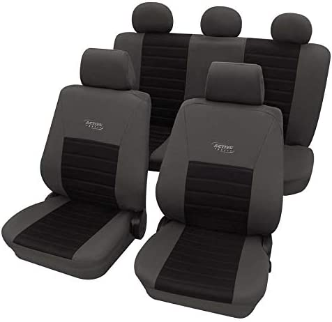 Petex 22374804-5398 Washable at 30 Degrees Active Sports Car Seat Covers Easy to Fit Grey /& Black Airbag Compatible
