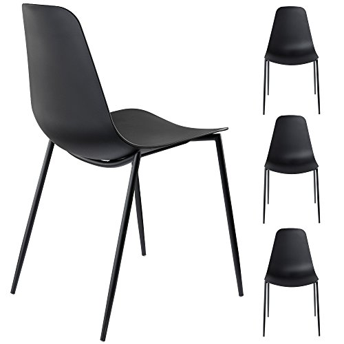 Alessia Set of 4 Black Dining Chairs - Mid Century Modern Style Armless Side Chairs Molded Easy Clean Plastic Shell with Steel Legs by Linea di Liara LL-CH1661-BLACK - Mid Century Modern High Chair