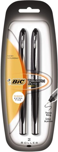 BIC Triumph 537 Needle Point Roller Pen, Ultra Fine Point (0.5 mm), Black, 12 Pens
